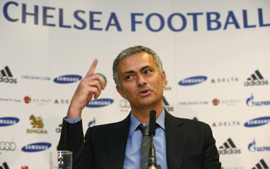 Newly reappointed Chelsea manager Mourinho speaks during a news conference at Stamford Bridge stadium in London