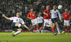 Lampard smashes home the winner against Poland in a World Cup qualifier at Old Trafford in October 2005