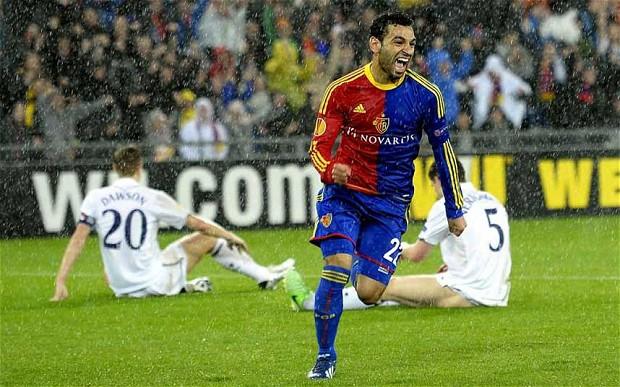 Mohamed Salah celebrating his goal against Tottenham, Europa League 2012/2013.