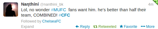 While this Chelsea fan takes time to mock our rivals.