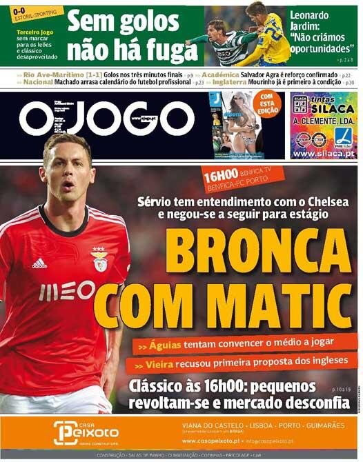 According to reports from Portugal newspaper O Jogo Chelsea have agreed a deal for Nemanja Matic.
