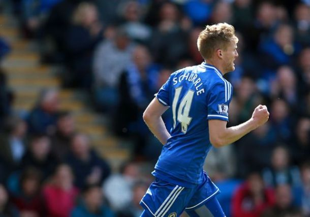 Chelsea's Andre Schurrle celebrates after scoring his team's opening goal